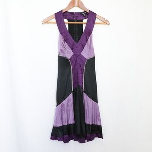 Bebe Purple Black Sleeveless Cocktail Party Dress